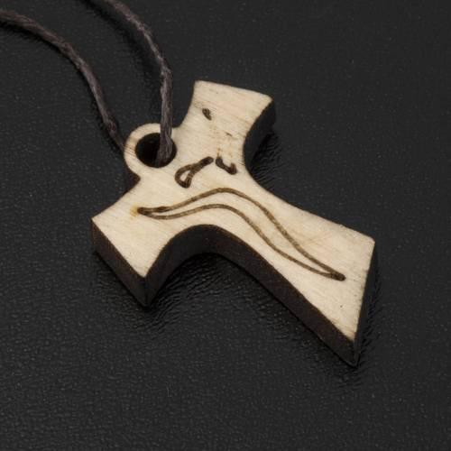 Croce Prima Comunione tau legno immagine risorto 3,3x2,4cm s2