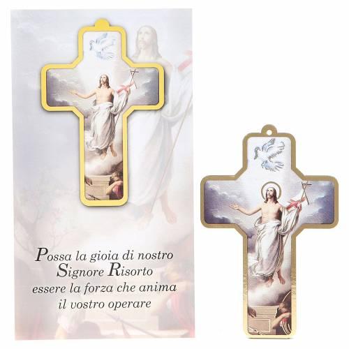 Croce pvc Resurrezione 13x8,5 cm s1