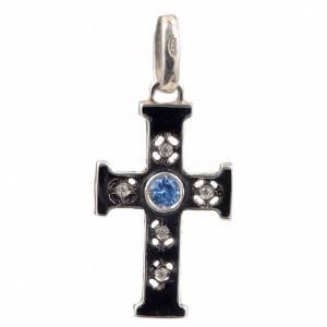 Pendenti, croci, spille, catenelle: Croce romanica con pietra in argento 925 ossidato