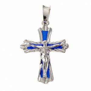 Pendenti, croci, spille, catenelle: Croce smalto blu argento 925
