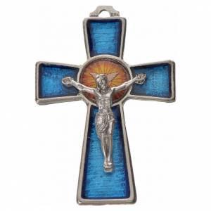 Pendenti croce metallo: Croce Spirito Santo zama cm 5x3,5 smalto blu