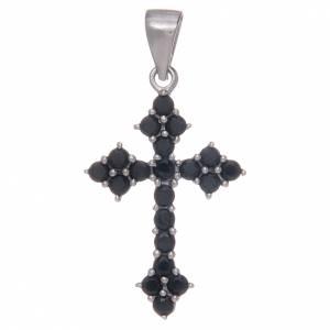 Pendenti, croci, spille, catenelle: Croce trilobata in Argento 925 con zirconi neri