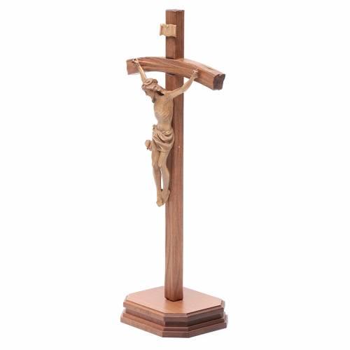 Crocifisso da tavolo scolpito legno Valgardena patinato s2