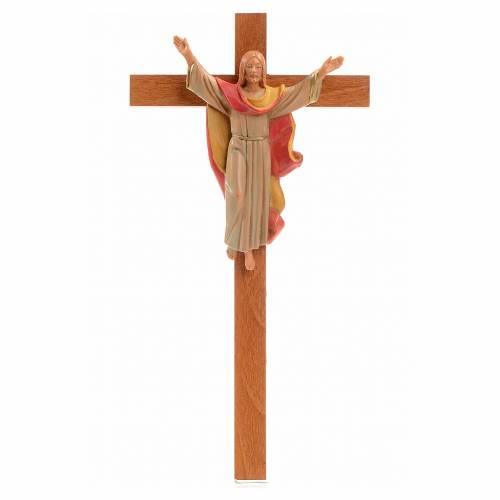 Crocifisso legno Cristo Risorto pvc Fontanini 25x13 cm s1