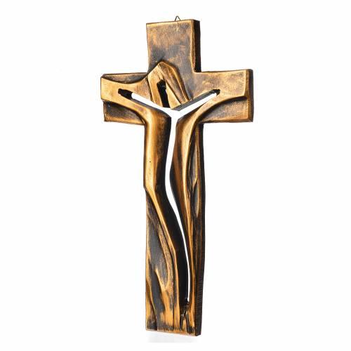 Crocifisso Medjugorje Cristo Risorto bronzato resina 34x19 s2