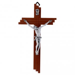 Crocifisso moderno in legno di pero 21 cm corpo metallico s1