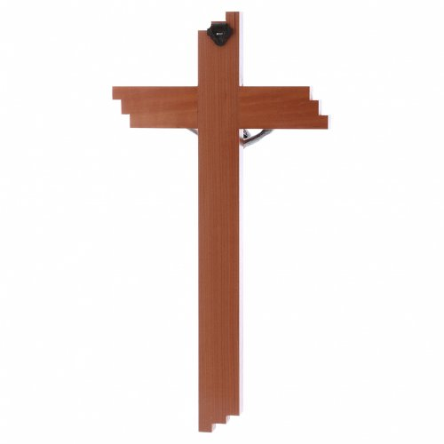 Crocifisso moderno in legno di pero 25 cm con corpo metallico  s3