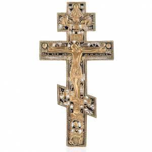 Crocifisso ortodosso antico in bronzo XVIII secolo s1