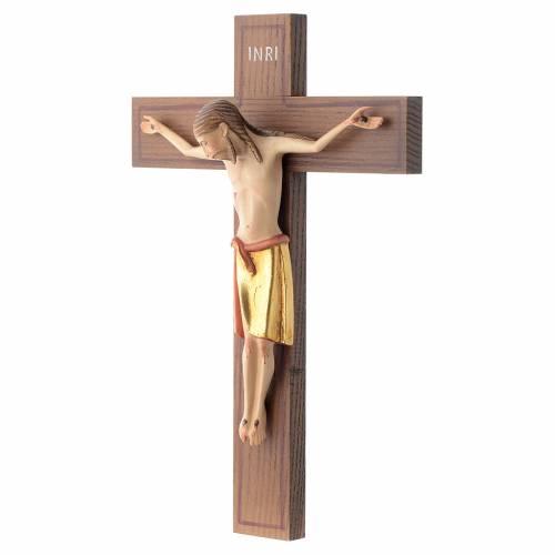 Crocifisso stile romanico 25 cm legno Valgardena s2