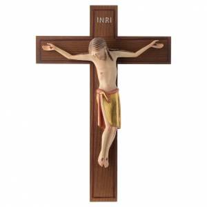Crocifisso stile romanico 25 cm legno Valgardena s1