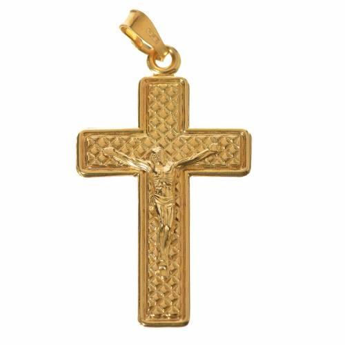 Croix argent 800 dorée à petits carrés s1