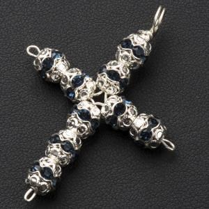 Croix argent et strass bleu 6 mm s2