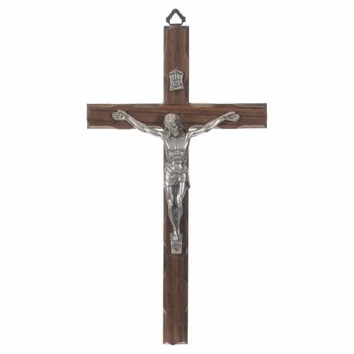 Croix bois Christ métal argenté 25 cm s1