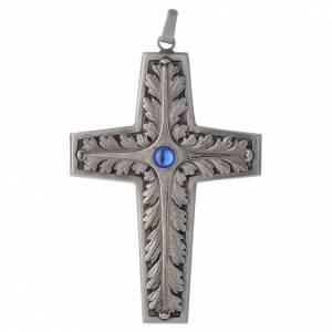 Croix pectorale cuivre argenté ciselé pierre bleue s1
