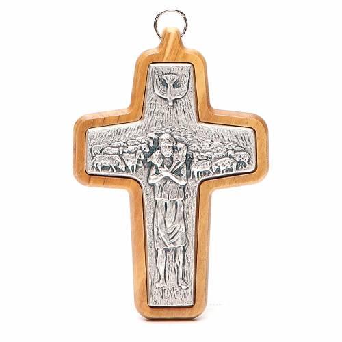 Croix pectorale métal bois olivier 12x8,5 cm s1
