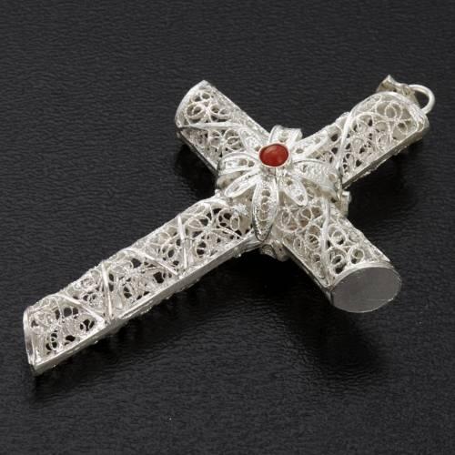 Croix pendentif corail filigrane argent 800 10,2 gr s6