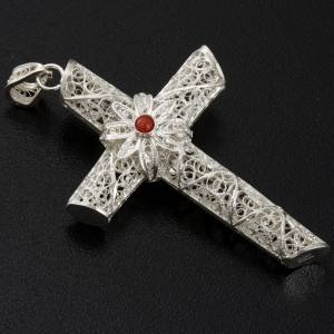 Croix pendentif corail filigrane argent 800 10,2 gr s3