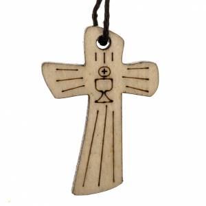 Croix première communion bois calice hostie 4,1x2,7 cm s1