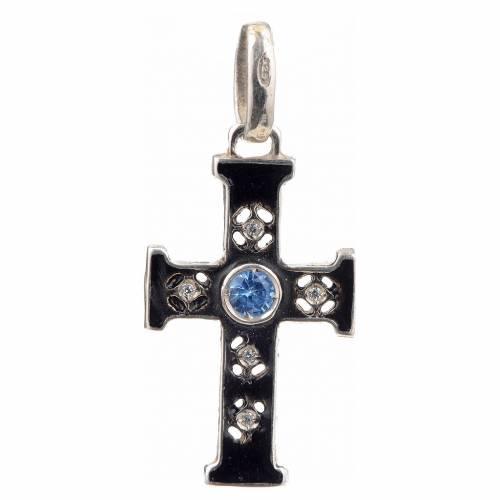 Croix romane en argent 925 et pierres s1
