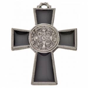 Croix Saint Benoît zamac émaillé noir 4x3 cm s2