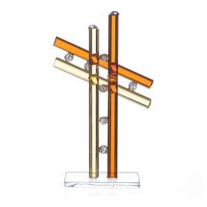 Bonbonnières: Croix verre Murano ambre h 12 cm