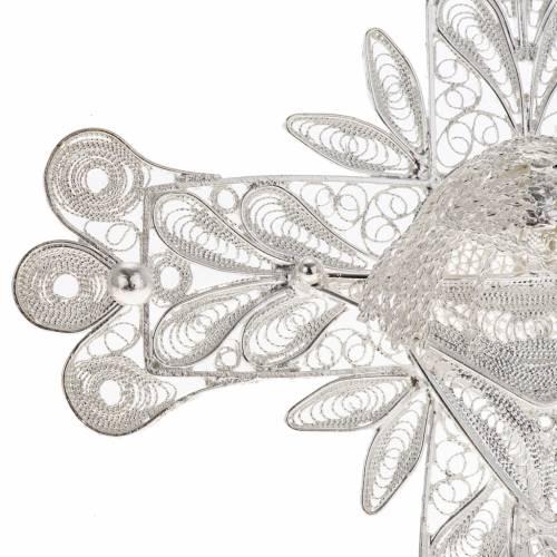 Cross pendant, 800 silver, flower decorations 32,9g s3
