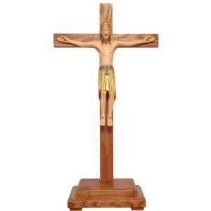 Crucifijos de mesa: Crucifijo Altenstadt 52 cm. con base madera coloreada Valgardena