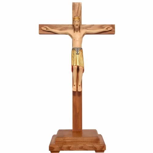 Crucifijo Altenstadt 52 cm. con base madera coloreada Valgardena s1