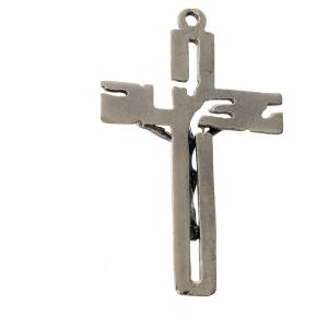 Crucifijo colgante estilizado en zamak plateado s2