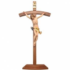 Crucifijos de mesa: Crucifijo con base cruz curva madera Valgardena coloreada