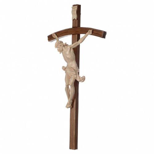 Crucifijo cruz curvada tallada Corpus madera Valgardena encerada s3