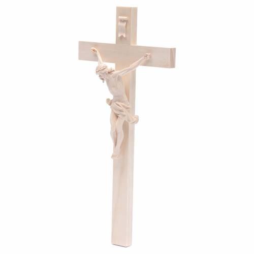 Crucifijo cruz recta modelo Corpus, madera Valgardena natural s2