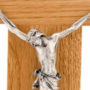 Crucifijo de madera de roble, cuerpo en plateado 23 cm s2