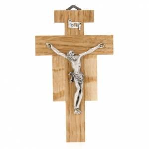 Crucifijo de madera de roble, cuerpo plateado 12 cm s1