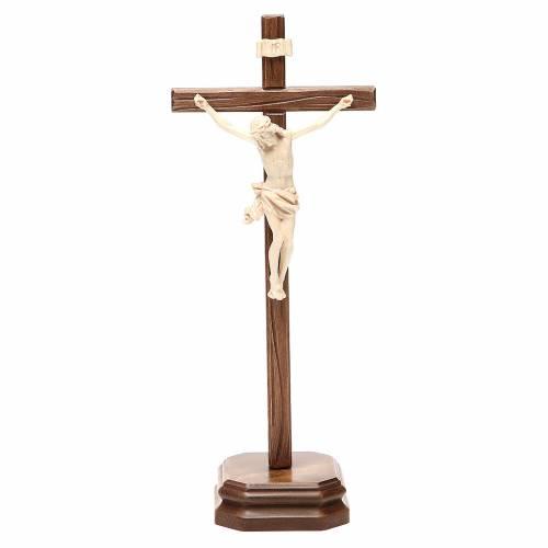 Crucifijo de mesa mod. Corpus madera Valgardena natural encerado s1