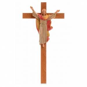 Crucifijos y cruces de madera: Crucifijo madera Cristo Resucitado pvc Fontanini 25x13cm
