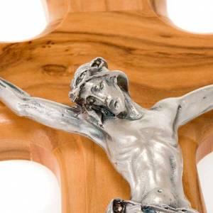 Crucifijo madera de olivo, cuerpo plateado s2