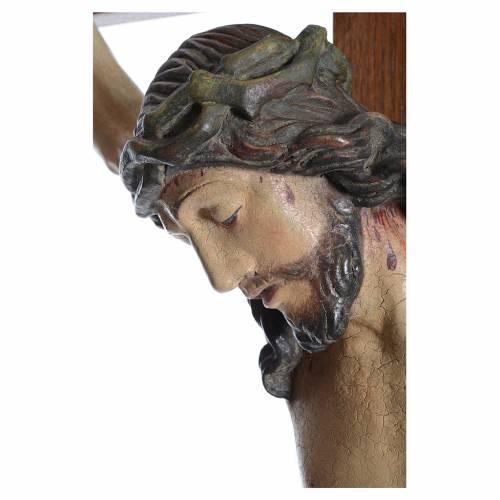 Crucifijo modelo Corpus, cruz recta madera Valgardena Antiguo do s3