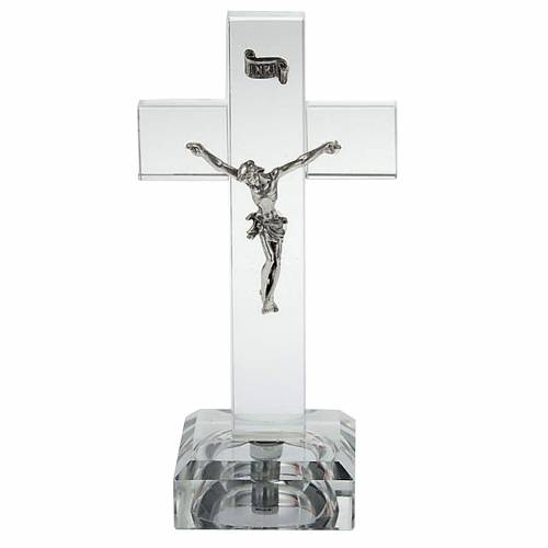 Crucifijo vidrio con luz interna s1
