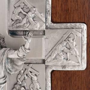 Crucifix argent chemin de croix 14 stations sur croix en bois s6