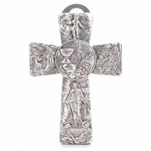 Crucifix argenté resurréction, ascension, calice, s1