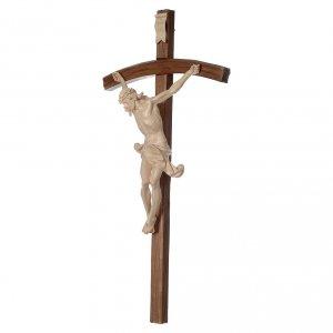 Crucifix bois ciré modèle Corpus, croix courbée s3