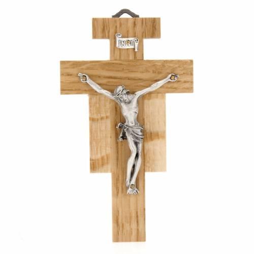 Crucifix bois de chêne, corps argenté 12 cm s1