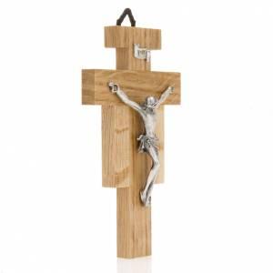 Crucifix bois de chêne, corps argenté 12 cm s2