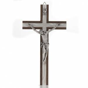 Crucifix bois et métal décor simili nacre s1