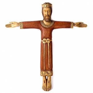 Crucifix, Christ Prêtre et Roi bois s1