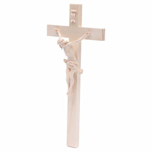 Crucifix croix droite Corpus Valgardena bois naturel s2