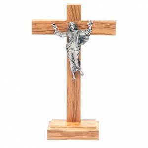 Crucifix à poser: Crucifix de table Christ ressuscité, en métal et b