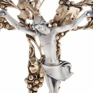 Crucifix en métal: Crucifix doré argenté raisins 24 cm