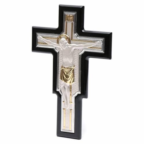 Crucifix doré argenté sur bois s2